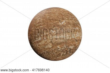 Brown Mystical Dead Planet With Craters Isolated On White Background. Science Fiction 3d Render Illu