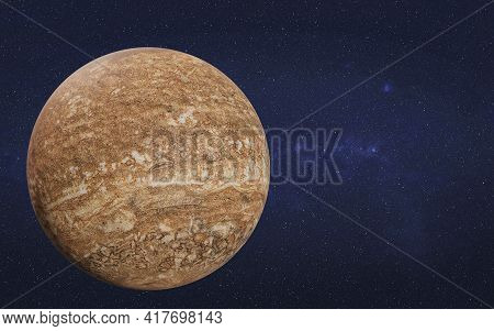 Brown Mystical Dead Planet With Craters In Outer Space. Science Fiction 3d Render Illustration.
