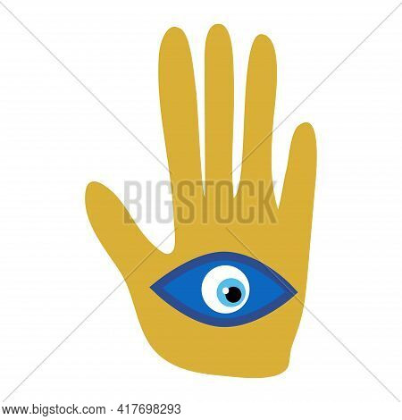 Ornate Hamsa, Amulet Against The Evil Eye And Spoilage. Popular Arabic And Jewish Amulet.