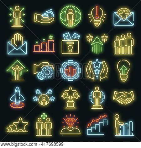 Opportunity Icons Set. Outline Set Of Opportunity Vector Icons Neon Color On White