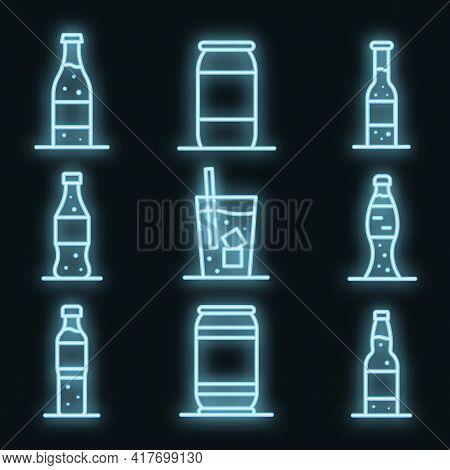 Soda Icons Set. Outline Set Of Soda Vector Icons Neon Color On White