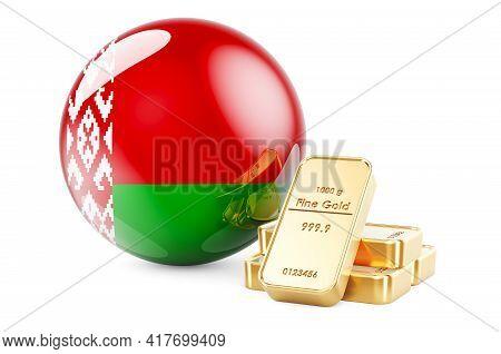 Golden Ingots With Belarusian Flag. Foreign-exchange Reserves Of Belarus Concept. 3d Rendering Isola