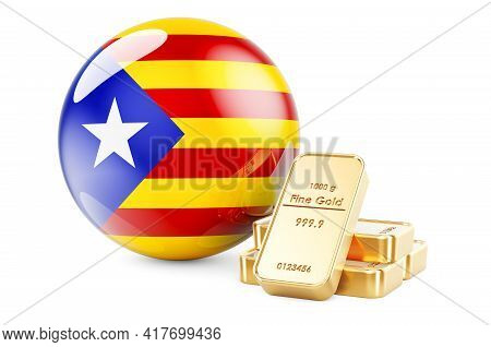 Golden Ingots With Catalan Flag. Foreign-exchange Reserves Of Catalonia Concept. 3d Rendering Isolat