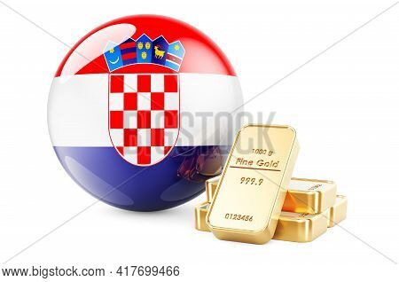Golden Ingots With Croatian Flag. Foreign-exchange Reserves Of Croatia Concept. 3d Rendering Isolate
