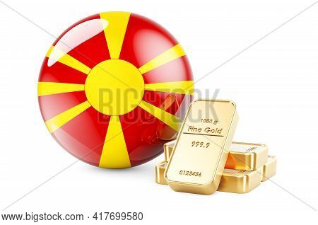 Golden Ingots With Macedonian Flag. Foreign-exchange Reserves Of Macedonia Concept. 3d Rendering Iso