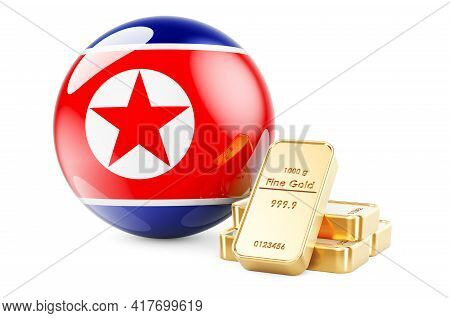 Golden Ingots With North Korean Flag. Foreign-exchange Reserves Of North Korea Concept. 3d Rendering