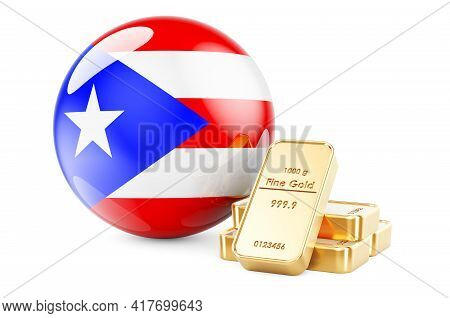 Golden Ingots With Puerto Rican Flag. Foreign-exchange Reserves Of Puerto Rico Concept. 3d Rendering