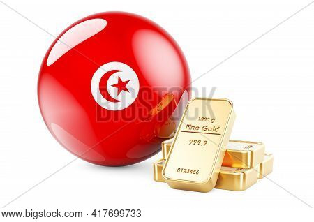 Golden Ingots With Tunisian Flag. Foreign-exchange Reserves Of Tunisia Concept. 3d Rendering Isolate
