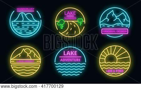 Lake Logo Set. Outline Set Of Lake Vector Logo Neon Color On White