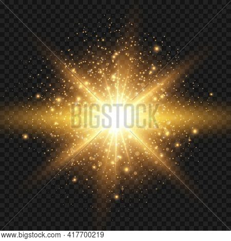 Starburst With Sparkles And Rays. Golden Light Flare Effect With Stars And Glitter Isolated On Trans