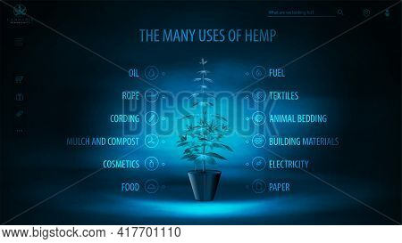 Many Uses Of Hemp, Dark And Blue Digital Poster With Dark Neon Scene, Infographic Of Uses Of Hemp An