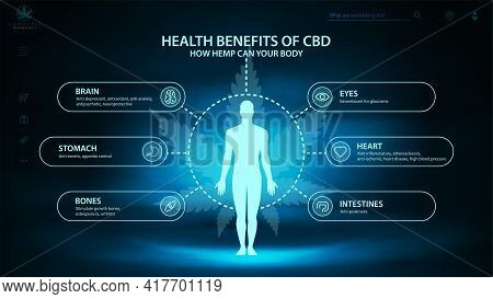 Hemp Cbd Benefits For Your Body, Ark And Blue Digital Poster With Dark Neon Scene, Infographic And S
