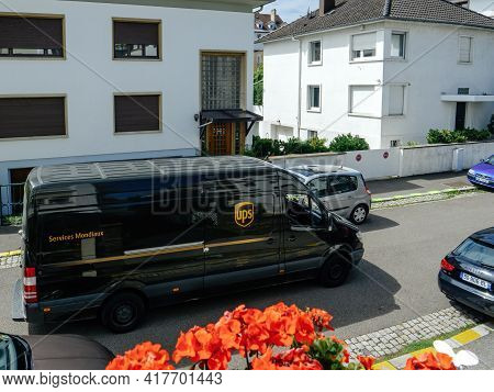 Paris, France - Aug 22, 2017: Aerial View Of Ups United Parcel Service Delivery Van Parked In The Mi