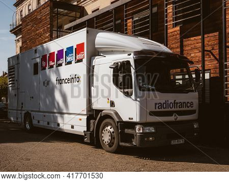 Strasbourg, France - Circa 2018: Front View Of Broadcast Audio Video Truck From France Inter With Lo