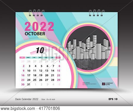 Calendar 2022  Template-october Month Layout, Desk Calendar 2022 Year, Calendar Planner Design, Week