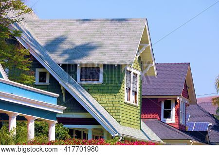 Historical Houses On A Residential Street Taken In A Suburban Neighborhood