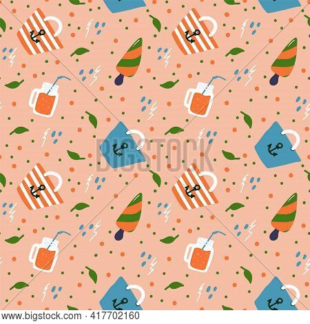 Beach Travel Background. Summer Pattern With Doodle Beach Illustrations. The Concept Of Relaxing On