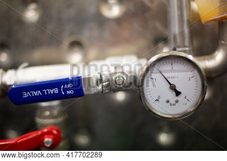 Pressure Sensor On Stainless Tanks For Fermentation In Craft Brewery. Craft Beer Production, Small B
