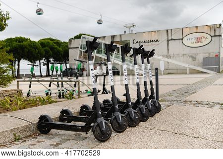 Close-up Of Bird Brand Carsharing E-scooter In Lisbon