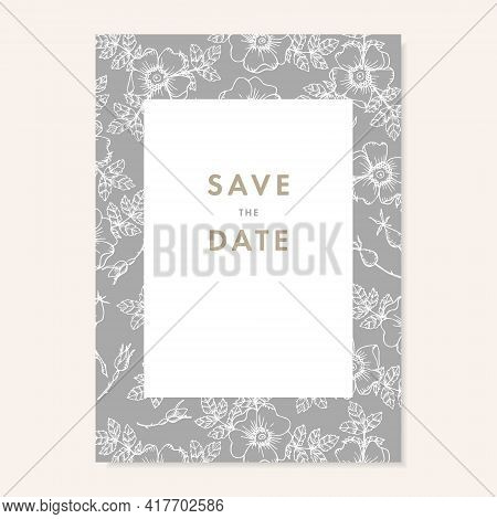 Wedding Invitation, Save The Date Card. Floral Pattern Made Of White Dog Roses Flowers, Buds And Lea