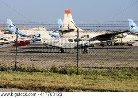April 15, 2021 In Chino, Ca:  Stored Airliner Aircraft As Well As General Aviation And Retired Vinta