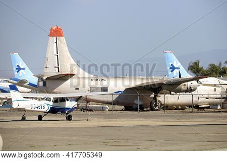 April 15, 2021 In Chino, Ca:  Vintage Aircraft Including Stored Airliner Aircraft Taken At An Chino,
