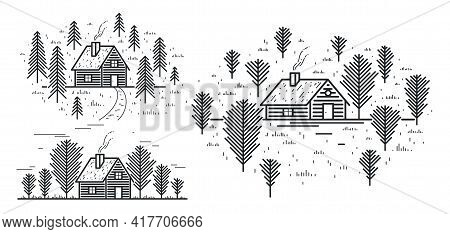 Cabin In Woods Pine Forest Linear Vector Nature Illustration Isolated On White, Log Cabin Cottage Fo