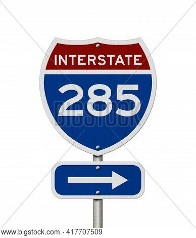 I-285 Interstate Usa Red And Blue Highway Road Sign Isolated Over White 3d Illustration