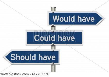 Would Have Could Have, Should Have Message On Blue Highway Road Sign Isolated On White 3d Illustrati