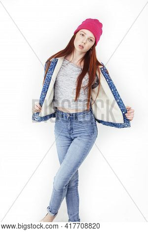 Young Pretty Teenage Hipster Girl Posing Emotional Happy Smiling On White Background, Lifestyle Peop