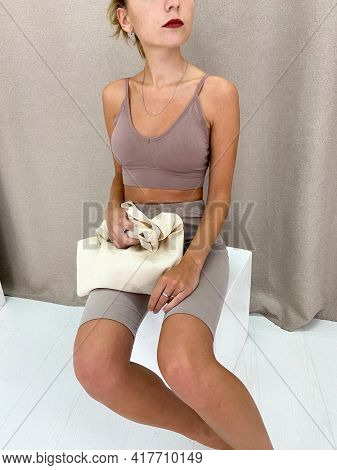 Beautiful Young Woman Holding A Tote Bag Or Shopper
