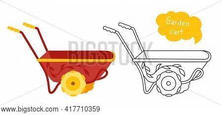 Garden Cart Cartoon Set Black Line Icon. Wheelbarrow Tool Outdoor Activities Digging. Work Equipment