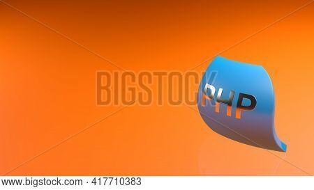 Php Blue Flag On Orangebackground - 3d Rendering Illustration