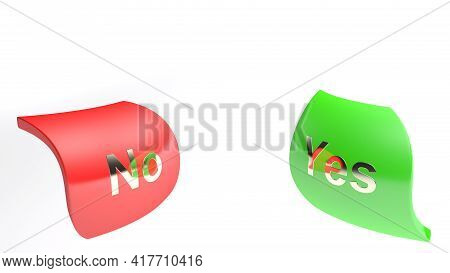 Yes And No Icons Isolated On White Background - 3d Rendering Illustration