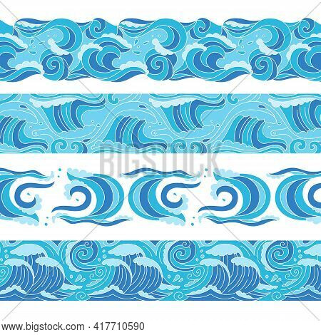 Sea Waves Doodle Blue Pattern Set. Ocean Border Ornament Water Wave Design Element. Sketch Marine Su