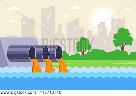 Urban Wastewater Is Discharged Through Pipes Into The River. Contamination Of Water From Factories.