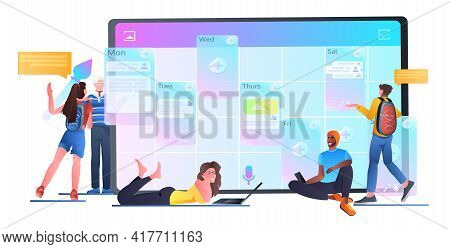 Businesspeople Team Planning Day Scheduling Appointment In Calendar Agenda Meeting Plan Time Managem