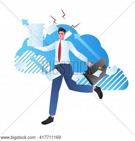 Overworked Businessman Holding Documents Stack Deadline Paperwork Stress Concept
