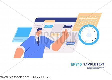 Businessman Planning Day Scheduling Appointment In Calendar App Agenda Meeting Plan Time Management