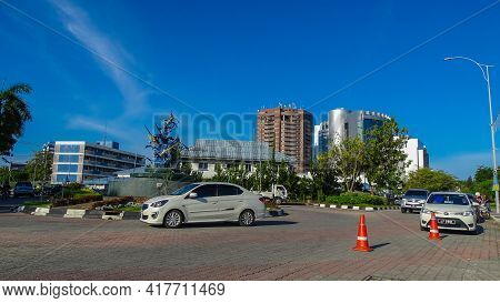 Labuan,malaysia-july 5,2019:view Of The Street In Centre Of The City Of Labuan Island,malaysia. Labu