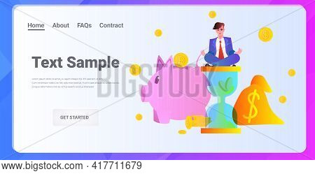 Successful Businessman Sitting Lotus Pose Investment Earning Finance Success Concept Horizontal