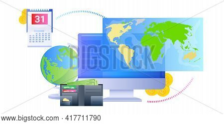 World Map On Computer Monitor Global Network Internet Connection Globalization Concept Horizontal