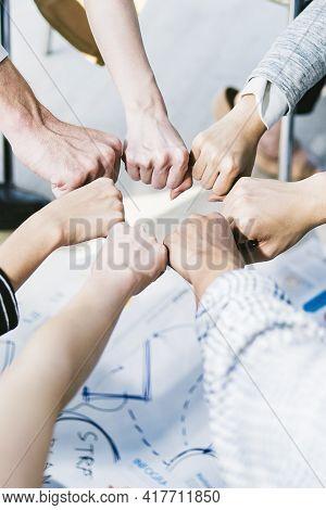 Vertical Hands For Work Together, Hand Stack For Business And Service, Volunteer Or Teamwork Togethe
