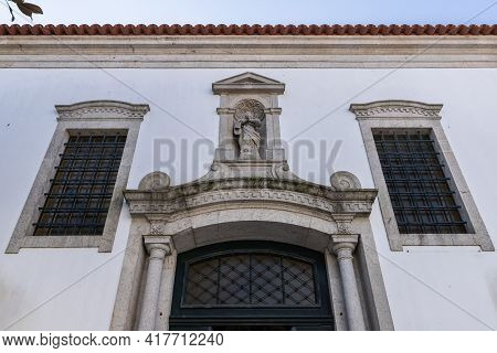 Architectural Detail Of The Church Of Mercy (santa Casa Misericordia De Fao) In The Historic City Ce