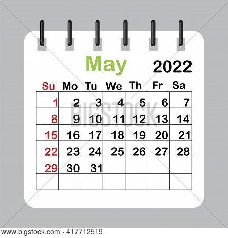 May 2022. Editable Calender Page Template. Wall Calendar. Vector Illustration. Eps 10.