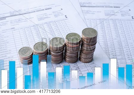 Bar Graph Stock Market, Forex Trading With Stack Coin Numeric Data Document. Planing Earn Money Inve
