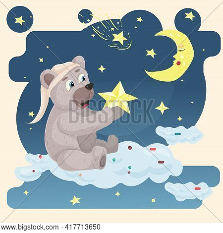 Illustration Sticker In Childrens Flat Style Cartoon For Childrens Bedroom Design Decoration, A Bear