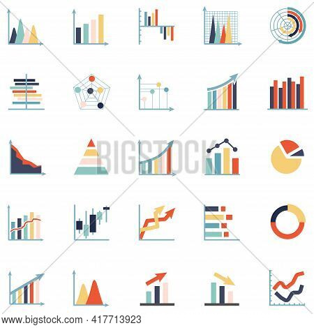 Business Graph Graphic Icon. Linear Growth Chart Finance Vector. Statistic Abstract Symbol. 320x320