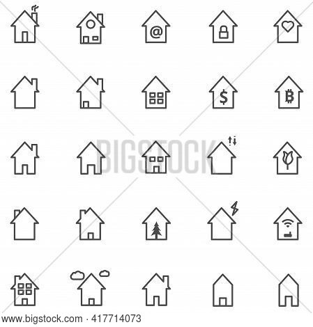 Set Of House Icon, Thin Simple Outline Of Home With Variety Shape Vector Illustration.