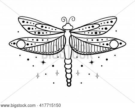 Simple Linear Hand Drawing Dragonfly. Insect With Wings, Boho Tattoo. Vector Illustration Isolated O